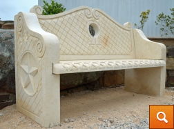 Hand Carved Stone Bench