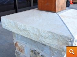 Column Cap - Cream Limestone - Chiseled Edge