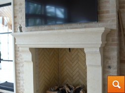 Cream Limestone - Carved Fireplace Surround
