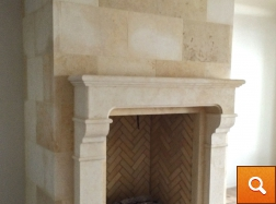 Cream Limestone Panels with Cream Limestone Fireplace Surround