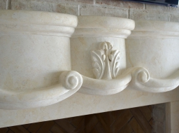 Detailed Hand Carved Limestone Fireplace Surround