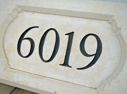 Cream Limestone - Hand Carved Address Block