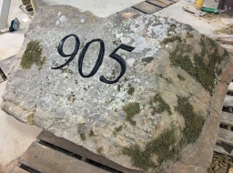 Custom Moss Rock Address Block